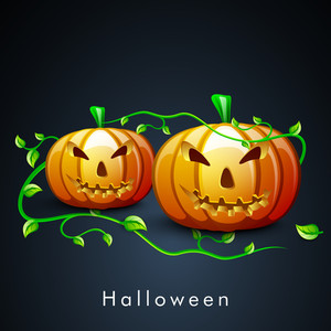 Banner Or Background For Halloween Party Night Concept With Scary Pumpkin And Green Leaves On Blue Background.
