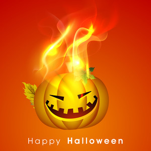 Banner Or Background For Halloween Party Night Concept With Scary Pumpkin In Flame On Orange Background.