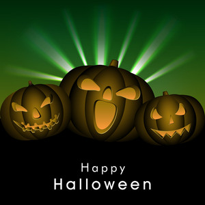 Banner Or Background For Halloween Party Night Concept With Scary Pumpkins On Green Rays Background.