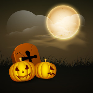 Banner Or Background For Halloween Party Night Concept With Scary Pumpkins