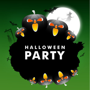 Banner Or Background For Halloween Party Night On Green Background.