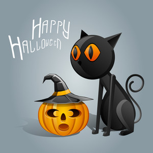 Banner Or Background For Halloween Party Night Pumpkin And Scary Cat.