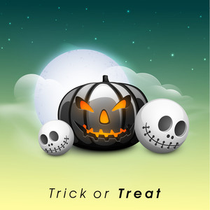 Banner Or Background For Halloween Party Night With Angry Pumkin And Skull.