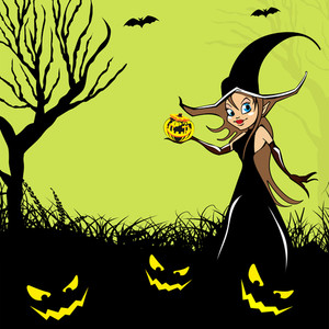 Banner Or Background For Halloween Party Night With Beautiful Witch On Spooky Background