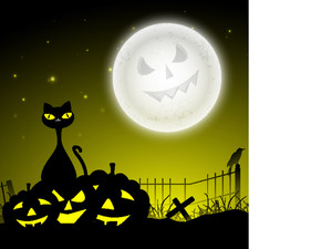 Banner Or Background For Halloween Party Night With Dangerous Cat And Pumpkins On Night Background.