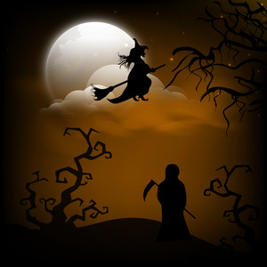 Banner Or Background For Halloween Party Night With Dead Tree And Witch.