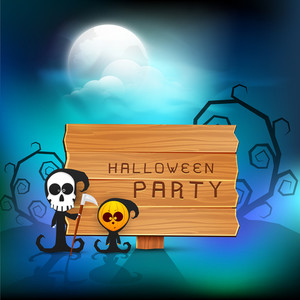 Banner Or Background For Halloween Party Night With Ghost And Dead Tree On Blue Background.