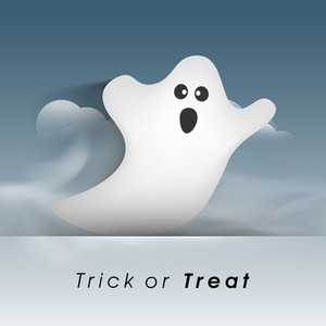Banner Or Background For Halloween Party Night With Ghost On Blue Background.