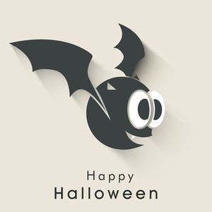 Banner Or Background For Halloween Party Night With Ghost On Brown Background.