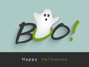 Banner Or Background For Halloween Party Night With Ghost On Green Background.