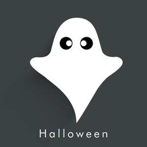 Banner Or Background For Halloween Party Night With Ghost On Grey Background.