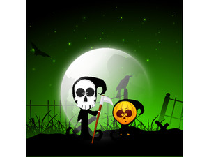 Banner Or Background For Halloween Party Night With Ghost On Spooky Night Background.