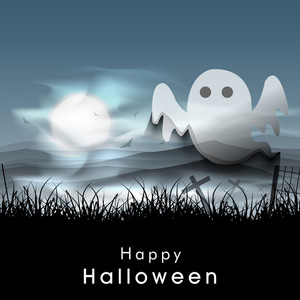 Banner Or Background For Halloween Party Night With Ghost.