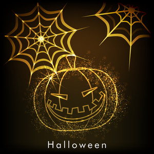 Banner Or Background For Halloween Party Night With Golden Pumpkin And Spidernet On Brown Background.