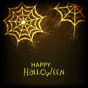 Banner Or Background For Halloween Party Night With Golden Traps On Shiny Brown Background.