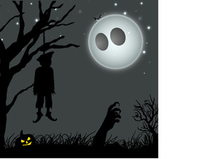 Banner Or Background For Halloween Party Night With Hanging Deadbody On Spooky Night Background.