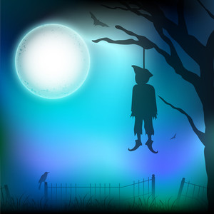 Banner Or Background For Halloween Party Night With Hanging Deadbody.