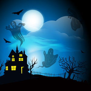 Banner Or Background For Halloween Party Night With Haunted House And Ghost On Blue.