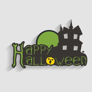 Banner Or Background For Halloween Party Night With Haunted House And Stylish Text On Grey Background.