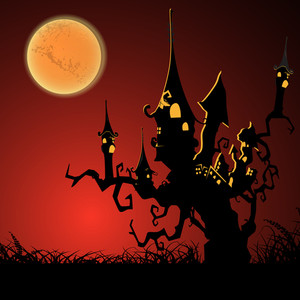 Banner Or Background For Halloween Party Night With Haunted House On A Dead Tree.