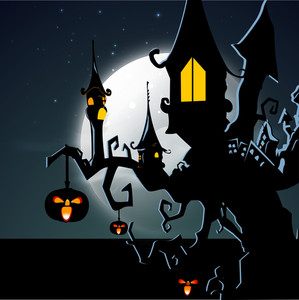 Banner Or Background For Halloween Party Night With Haunted House On A Tree.