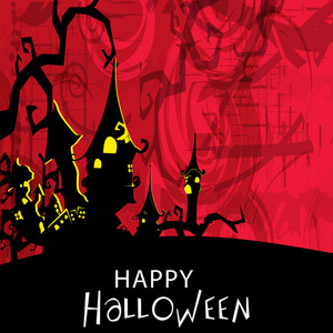 Banner Or Background For Halloween Party Night With Haunted House On Grungy Red Background.