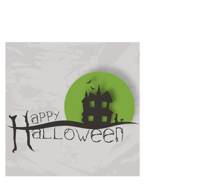 Banner Or Background For Halloween Party Night With Haunted House On Grungy Grey Background.