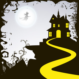 Banner Or Background For Halloween Party Night With Haunted House.
