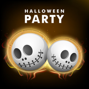 Banner Or Background For Halloween Party Night With Human Skull On Brown Background.