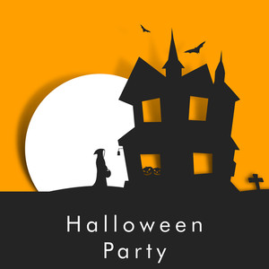Banner Or Background For Halloween Party Night With Hunted House And Witch On Orange And Grey Background.