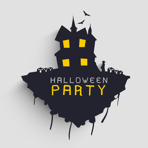 Banner Or Background For Halloween Party Night With Illustration Of A Haunted House