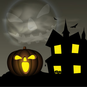 Banner Or Background For Halloween Party Night With Pumpkin And Haunted House On Grey.