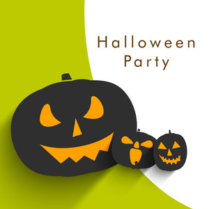 Banner Or Background For Halloween Party Night With Pumpkin On Green And Grey Background.