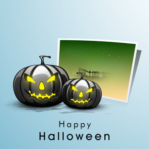 Banner Or Background For Halloween Party Night With Pumpkins And Space For Your Text.