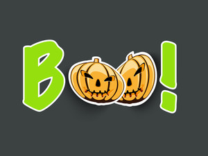 Banner Or Background For Halloween Party Night With Pumpkins And Sticker Boo On Grey Background.