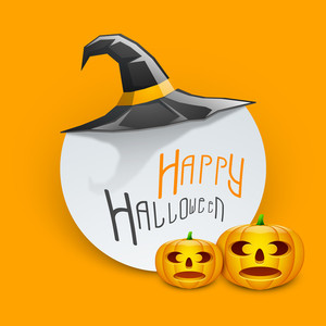 Banner Or Background For Halloween Party Night With Pumpkins And Witch Hat On Orange Background.