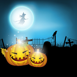Banner Or Background For Halloween Party Night With Pumpkins On Blue Background.