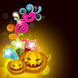 Banner Or Background For Halloween Party Night With Pumpkins On Floral Decorated Background.