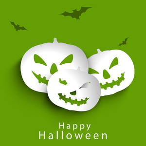 Banner Or Background For Halloween Party Night With Pumpkins On Green Background.