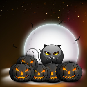 Banner Or Background For Halloween Party Night With Pumpkins On Night Background.