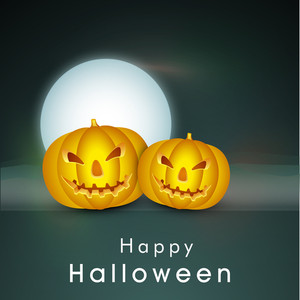 Banner Or Background For Halloween Party Night With Pumpkins.