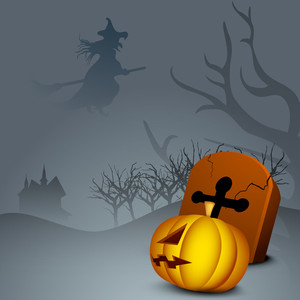 Banner Or Background For Halloween Party Night With Scary Pumpkin And Grave Stone.