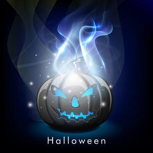 Banner Or Background For Halloween Party Night With Scary Pumpkin In Flame On Blue Background.