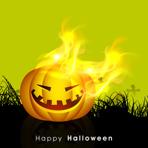 Banner Or Background For Halloween Party Night With Scary Pumpkin In Flame.