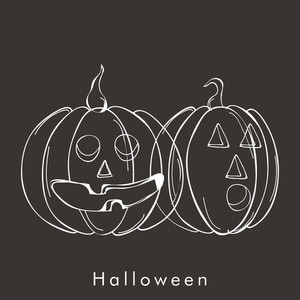 Banner Or Background For Halloween Party Night With Scary Pumpkin On Grey Background.