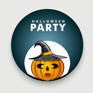 Banner Or Background For Halloween Party Night With Scary Pumpkin Wearing Witch Hat On Blue And Grey Background.