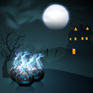 Banner Or Background For Halloween Party Night With Scary Pumpkins In Flame.