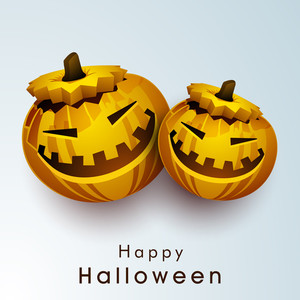 Banner Or Background For Halloween Party Night With Scary Pumpkins On Blue Background.