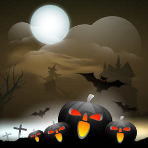 Banner Or Background For Halloween Party Night With Scary Pumpkins On Night Background.