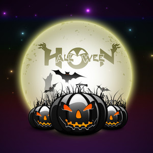 Banner Or Background For Halloween Party Night With Scary Pumpkins On Purple.